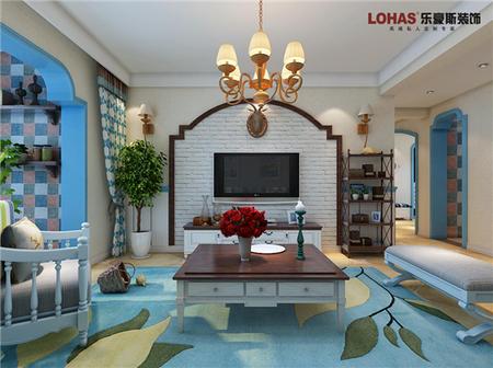 翰林怡园128㎡地中海风格三室两厅装修效果图